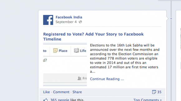 Times of India et Facebook collabore pour inciter les jeunes à voter #techpol #compol #techquipeut