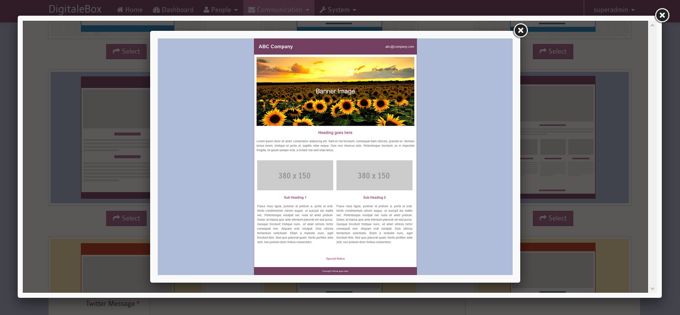 Template predefini simple a creer modifier pour newsletter
