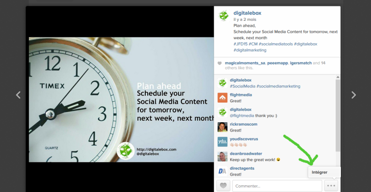 Embed une publication instagram dans un site web digitalebox 2