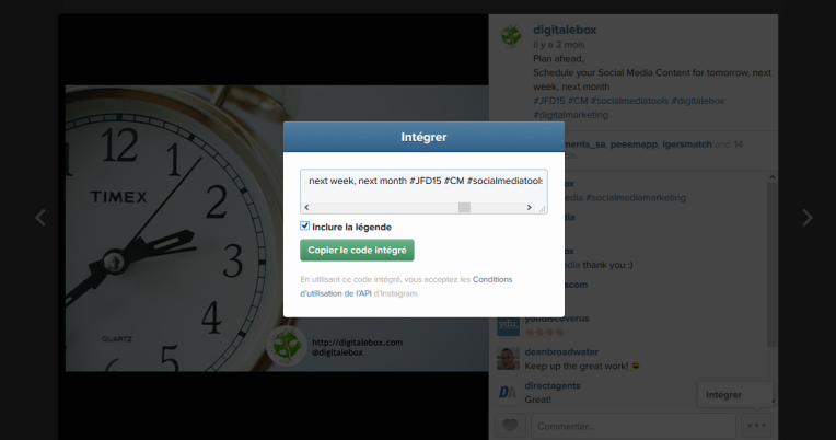Embed une publication instagram sur un site web digitalebox 3