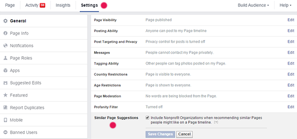 Settings Page Facebook Similar pages suggestions community management social media digitalebox
